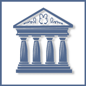 Dare to Know Consultants logo a drawing of facade of Greek temple