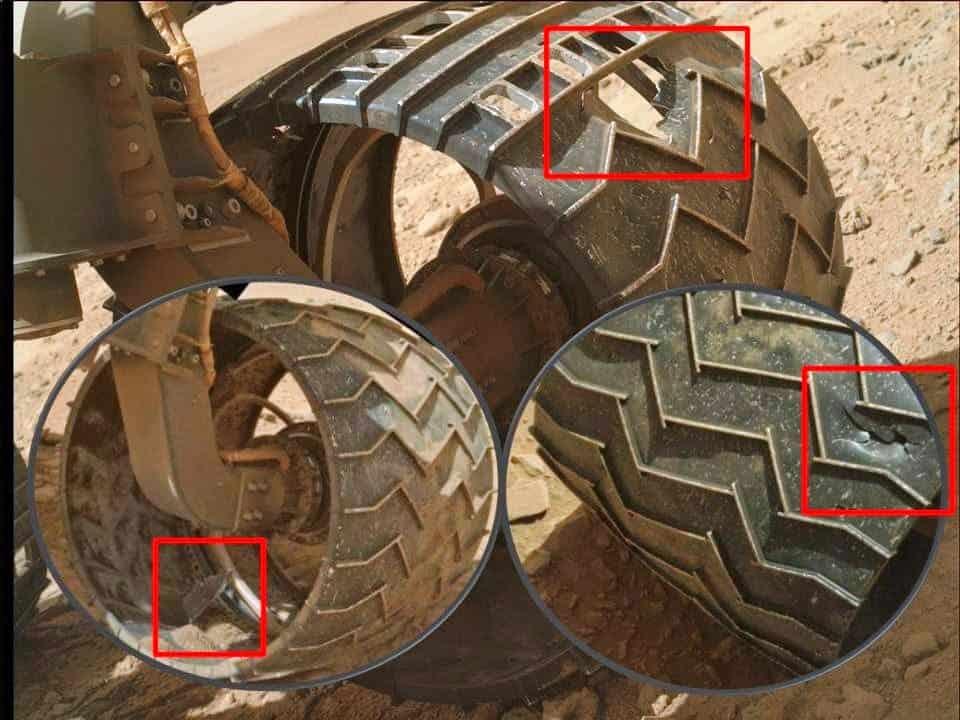 mars rover wheel highlighted failure