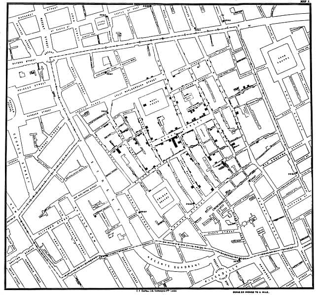 1855 London Street map showing clusters of cholera cases